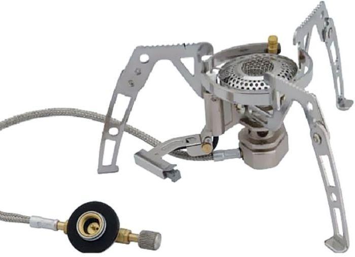 Горелка газовая Tramp, складная со шлангом и пьезоподжигом, цвет: металл. TRG-010 - Горелки, Обогреватели