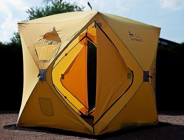 Палатка Tramp IceFisher 2, цвет: желтыйTRT-109Палатка Tramp IceFisher 2 идеальна для зимней рыбалки на льду. Устанавливается всего за 45секунд. Палатка имеет две двери и четыре обзорных окна, которые можно использовать как вентиляцию. Также имеется два вентиляционных отверстия. Два кармана для мелочей внутри. Широкая юбка по периметру защищает от снега и дождя. Молнии усилены. Светоотражающие элементы на каждой стороне и гранях.Ледовые ввертыши и сумка для переноски в комплекте.