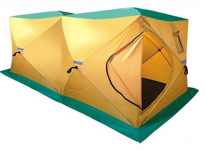 Палатка, баня Tramp DOUBLE HOT CUBE, цвет: желтый. TRT-12167742Размер: 180х360х200 смКоличество мест: 6Колышки: 8 ввертышей-саморезовКоличество входов: 1Полный вес: 11,4 кгРазмер в упаковке: 30х30х130 смПалатка дополнительно оборудована съемным выводом из огнеупорных материалов для трубы дымохода. Палатку можно использовать на зимней рыбалке с печным отоплением, в качестве бани.Вместимость 6-9 человек.Устанавливается за 120 секунд.Один вход, два смотровых и два вентиляционных окна.