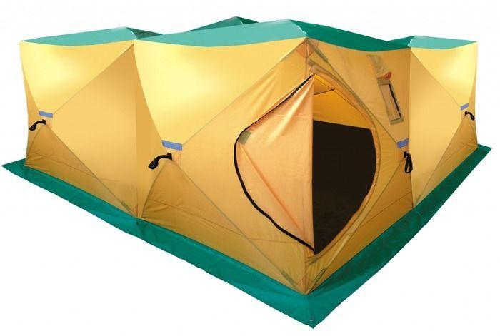Палатка, баня Tramp HOT CUBE 360, цвет: желтый. TRT-1221301210Размер: 360x360x200 смКоличество мест: 9Количество входов: 2Полный вес: 15,2 кгРазмер в упаковке: 50х50х140 смПалатка-шатер для большой компании. Палатка дополнительно оборудована съемным выводом из огнеупорных материалов для трубы дымохода.Палатку можно использовать зимой с печным отоплением, в качестве бани, как склад.Быстрая установка.Два входа, четыре смотровых и шесть вентиляционных окон.