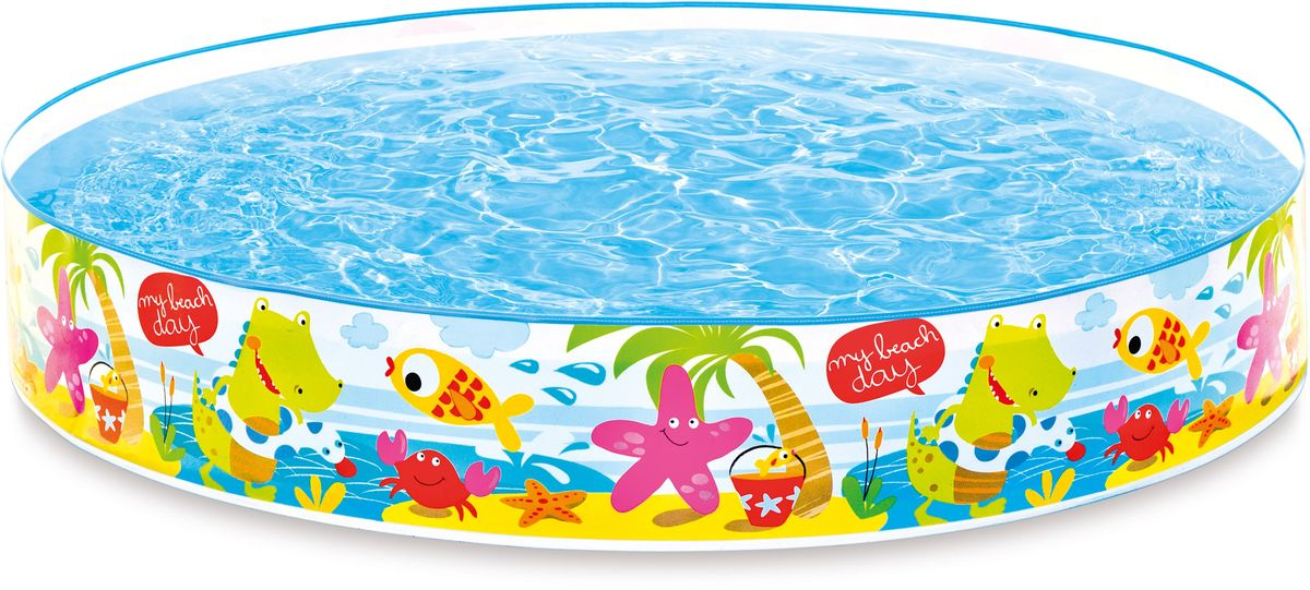 Надувной жесткий бассейн Intex Пляж, 152 х 25 см, от 3 лет. с56451с54904Самый простой в сборке надувной детский бассейн Intex Пляж. Чтобы его установить, нужно достать из коробки и расправить стенки, после чего наливаете воду и радоваться вместе с малышом. Ведь надувной бассейн будет хорош в любых условиях отдыха. Кроме того, детские бассейны компании Интекс продуманы до мелочей- это и удобство всборке, легкость, компактность, и удобство для малыша- необходимый уровень воды и безопасность.Характеристики:Размеры : высота 25 см, диаметр 152 смОбъем: 370 л при 90% заполненииВремя сборки: 10 мин Вес: 1.4кг