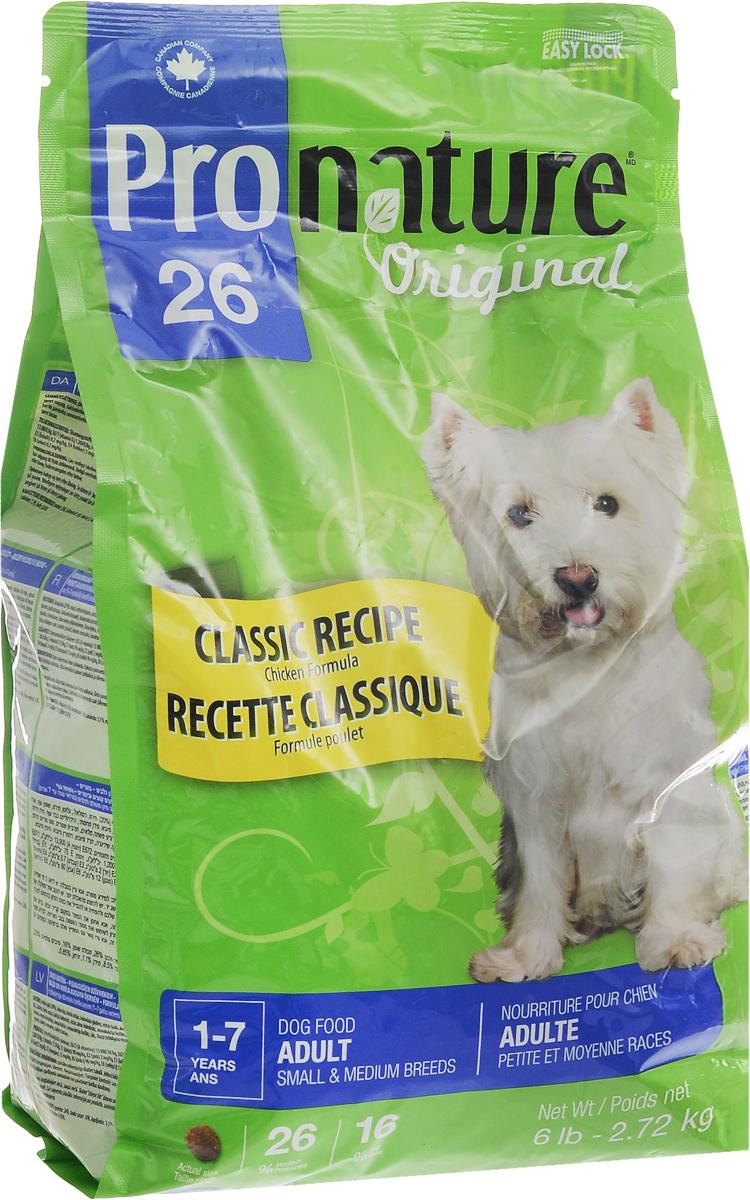Корм сухой Pronature Original 26, для собак мелких и средних пород, с курицей, 2,72 кг0120710Взрослые собаки мелких и средних пород нуждаются в специальном сбалансированном питании в соответствии с их особыми потребностями. Восхитительный рецепт Pronature Original 26 для собак мелких и средних пород обеспечивает оптимальный баланс энергии и питательных веществ для здоровья и долголетия вашего маленького друга!Уникальный состав кормов Pronature Original 26 в котором нет сои, красителей, искусственных ароматизаторов и консервантов, гарантирует оптимальное развитие вашего животного на каждом этапе его жизни. Корм подходит для кошек в возрасте от 1 года до 7 лет.Товар сертифицирован.