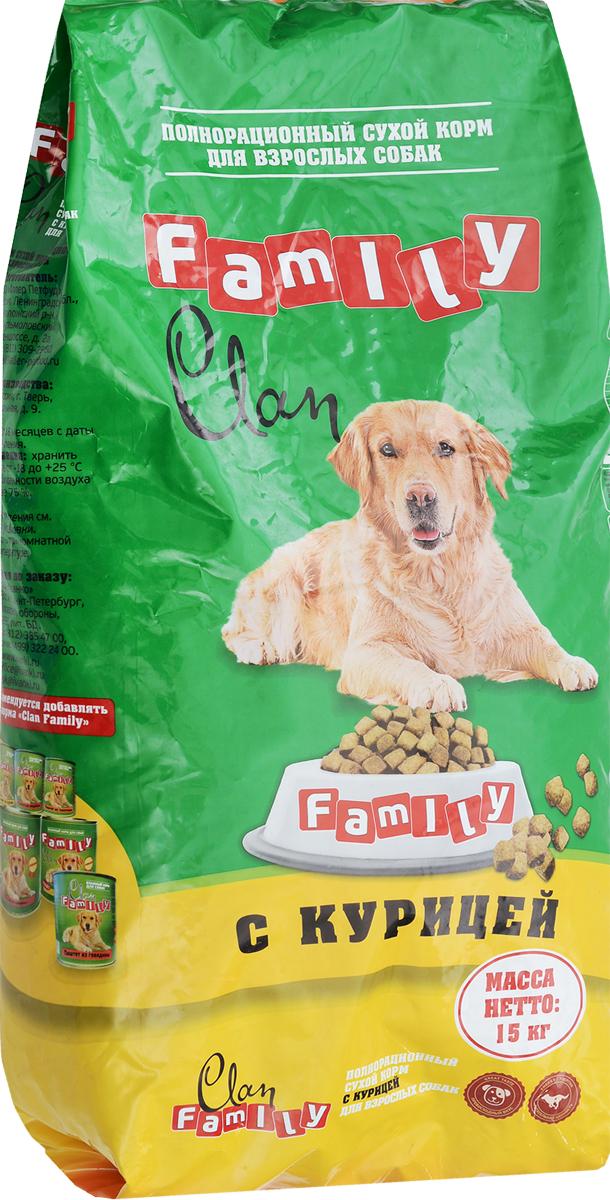 Корм сухой для собак Clan Family, курица, 15 кг, корм clan family паштет из говядины 415g для кошек