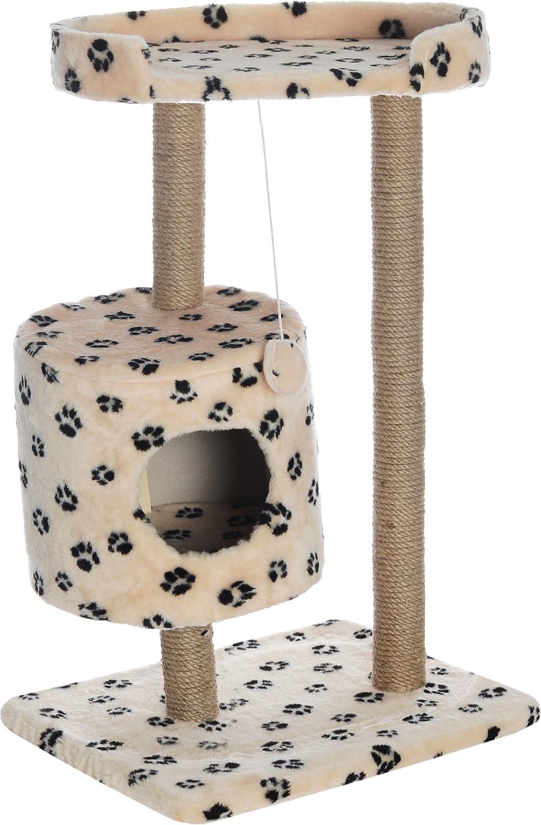 Домик-когтеточка Меридиан, круглый, с площадкой, цвет: бежевый, черный, 52 х 52 х 105 см0120710Домик-когтеточка Меридиан выполнен из высококачественного ДВП и ДСП и обтянут искусственным мехом. Изделие предназначено для кошек. Ваш домашний питомец будет с удовольствием точить когти о специальные столбики, изготовленные из джута. А отдохнуть он сможет либо на полке, либо в домике. Изделие снабжено подвесной игрушкой. Домик-когтеточка Меридиан принесет пользу не только вашему питомцу, но и вам, так как он сохранит мебель от когтей и шерсти.Общий размер: 52 х 52 х 105 см.Размер домика: 35 х 35 х 32 см.Размер полки: 51 х 29 см.