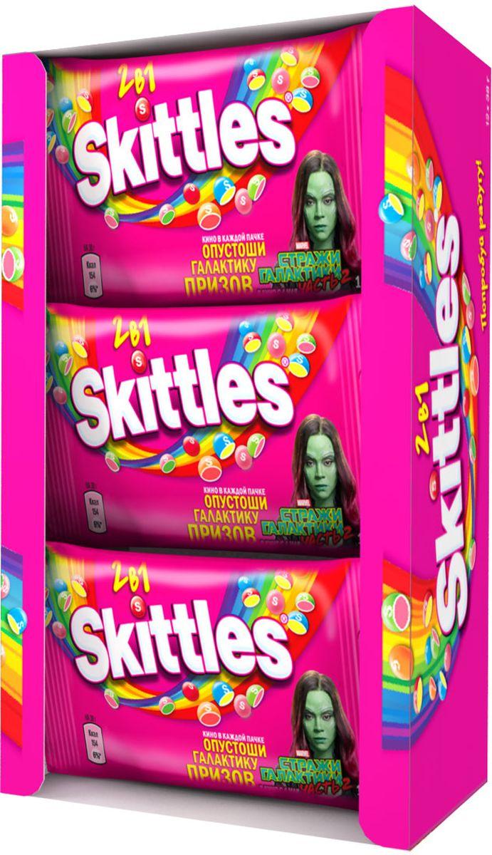 Skittles 2 в 1 драже в сахарной глазури, 12 пачек по 38 г0120710Драже Skittles c разноцветной глазурью предлагают радугу фруктовых вкусов в каждой упаковке! Вкус 2 в 1 - это в два раза больше радуги, ведь в каждом драже - два фруктовых вкуса! Заразитесь радугой, попробуйте радугу! Уважаемые клиенты! Обращаем ваше внимание, что полный перечень состава продукта представлен на дополнительном изображении.