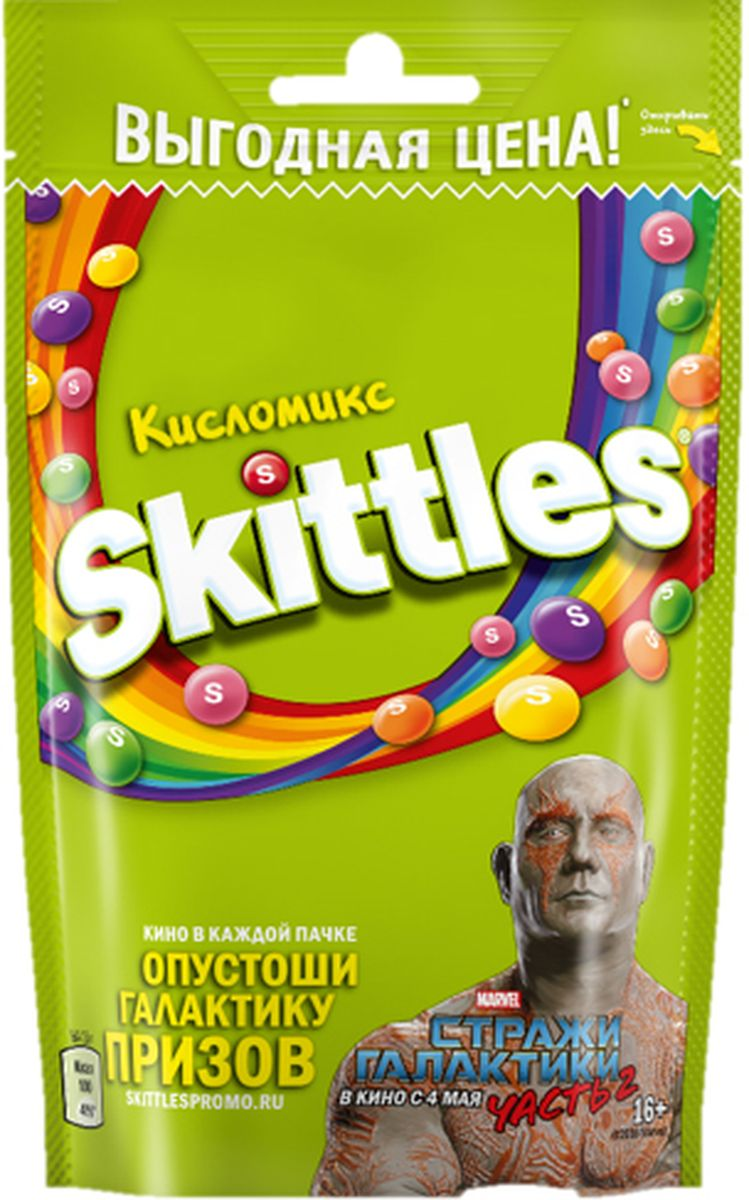 Skittles Кисломикс драже в сахарной глазури, 100 г5060295130016Жевательные конфеты Skittles Кисломикс c разноцветной глазурью предлагают радугу кислых фруктовых вкусов в каждой упаковке! Конфеты с ароматами малины, ананаса, мандарина, вишни и яблока: заразитесь радугой, попробуйте радугу!Уважаемые клиенты! Обращаем ваше внимание, что полный перечень состава продукта представлен на дополнительном изображении.