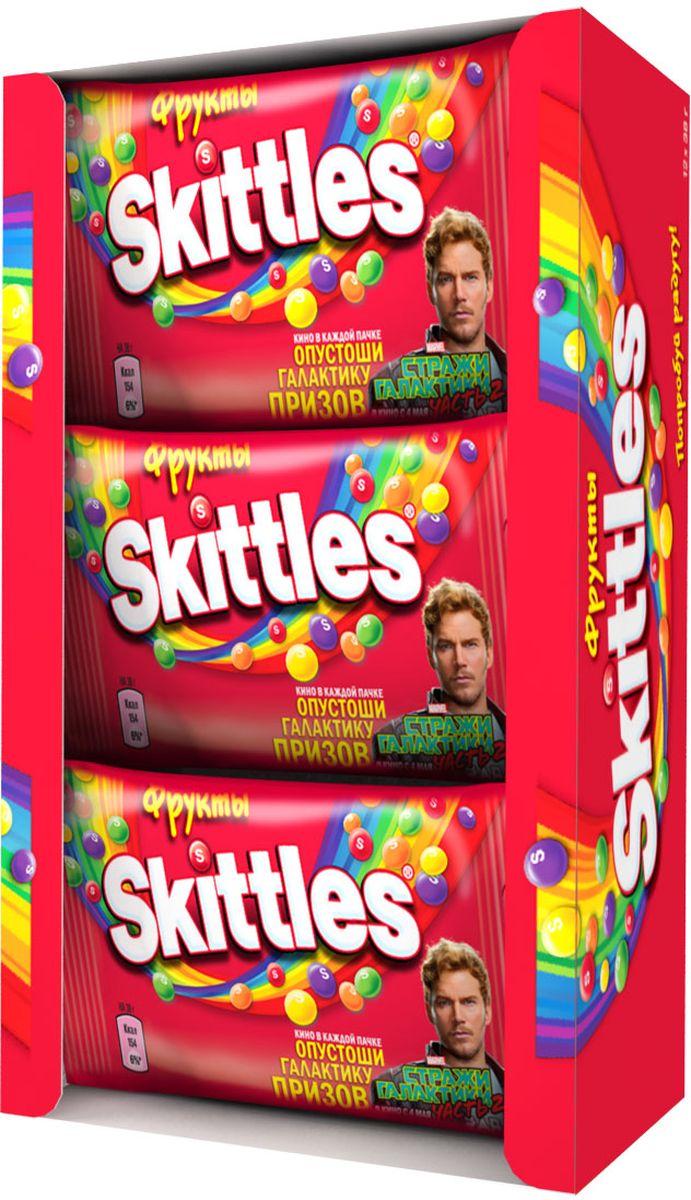 Skittles Фрукты драже в сахарной глазури, 12 пачек по 38 г5000159372923Жевательные конфеты Skittles Фрукты c разноцветной глазурью предлагают радугу фруктовых вкусов в каждой упаковке! Конфеты с ароматами лимона, лайма, апельсина, клубники и черной смородины: заразитесь радугой, попробуйте радугу!Уважаемые клиенты! Обращаем ваше внимание, что полный перечень состава продукта представлен на дополнительном изображении.