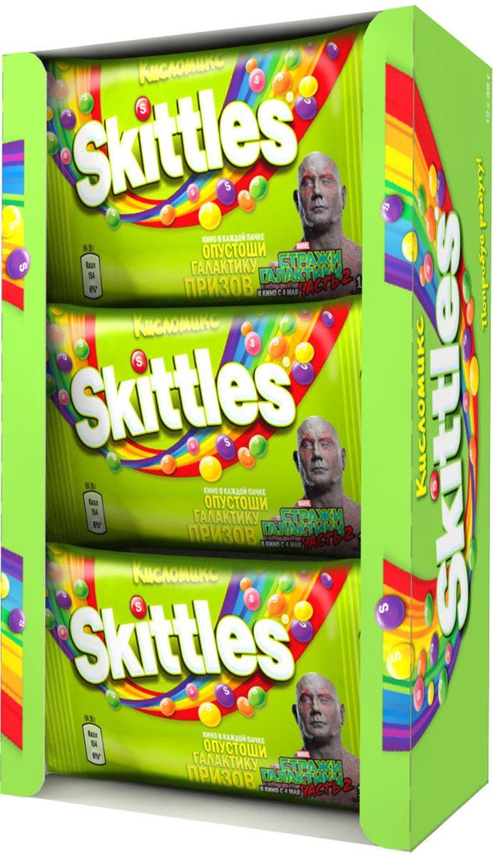 Skittles Кисломикс драже в сахарной глазури, 12 пачек по 38 г0120710Жевательные конфеты Skittles Кисломикс c разноцветной глазурью предлагают радугу кислых фруктовых вкусов в каждой упаковке! Конфеты с ароматами малины, ананаса, мандарина, вишни и яблока: заразитесь радугой, попробуйте радугу!Уважаемые клиенты! Обращаем ваше внимание, что полный перечень состава продукта представлен на дополнительном изображении.