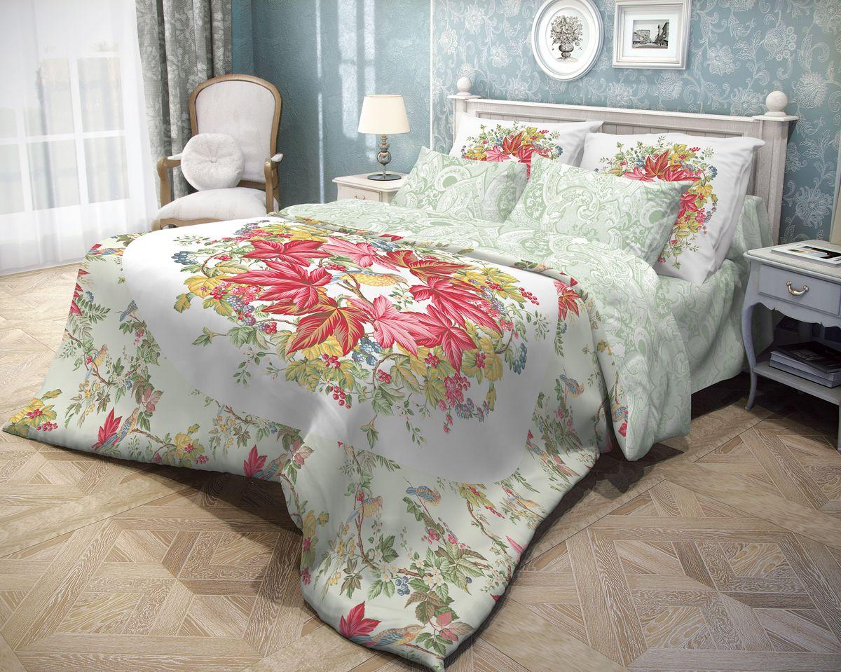 Комплект белья Волшебная ночь Bird Garden, 1,5-спальный, наволочки 70х70, цвет: белый, красный, зеленый10503Роскошный комплект постельного белья Волшебная ночь Bird Garden выполнен из натурального ранфорса (100% хлопка) и оформлен оригинальным рисунком. Комплект состоит из пододеяльника, простыни и двух наволочек. Ранфорс - это новая современная гипоаллергенная ткань из натуральных хлопковых волокон, которая прекрасно впитывает влагу, очень проста в уходе, а за счет высокой прочности способна выдерживать большое количество стирок. Высочайшее качество материала гарантирует безопасность.