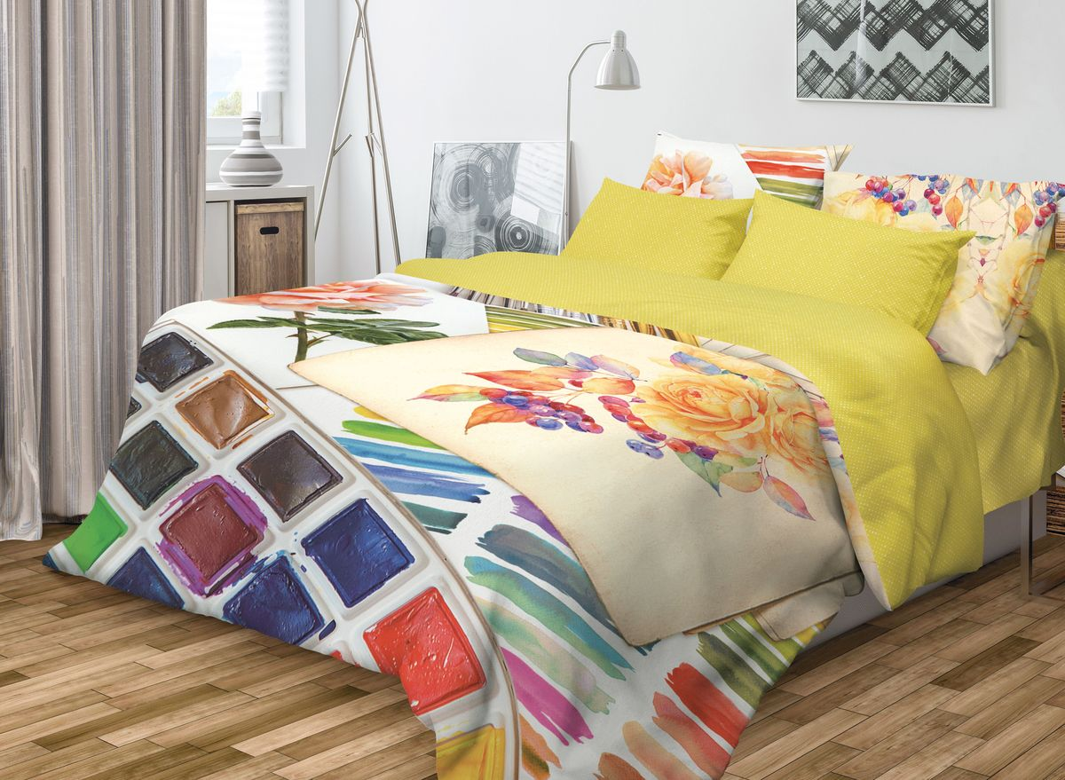 Комплект белья Волшебная ночь Paint, 1,5-спальный, наволочки 50х70, цвет: горчичный391602Роскошный комплект постельного белья Волшебная ночь Paint выполнен из натурального ранфорса (100% хлопка) и оформлен оригинальным рисунком. Комплект состоит из пододеяльника, простыни и двух наволочек. Ранфорс - это новая современная гипоаллергенная ткань из натуральных хлопковых волокон, которая прекрасно впитывает влагу, очень проста в уходе, а за счет высокой прочности способна выдерживать большое количество стирок. Высочайшее качество материала гарантирует безопасность.