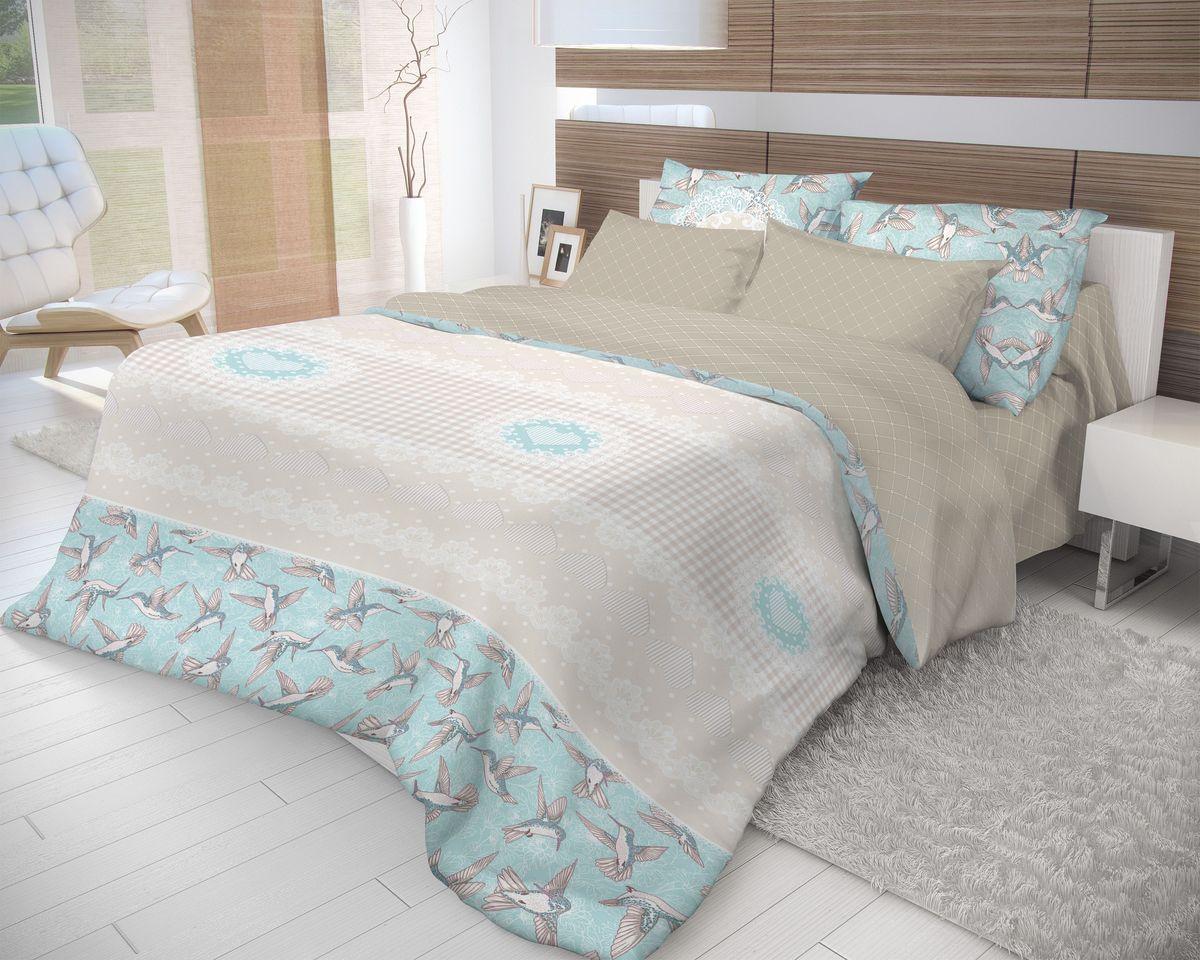 Комплект белья Волшебная ночь Colibri, 2-спальный с простыней на резинке, наволочки 70х70, цвет: голубой, светло-серый, бежевый. 71059010503Роскошный комплект постельного белья Волшебная ночь Colibri выполнен из натурального ранфорса (100% хлопка) и оформлен оригинальным рисунком. Комплект состоит из пододеяльника, простыни и двух наволочек. Ранфорс - это новая современная гипоаллергенная ткань из натуральных хлопковых волокон, которая прекрасно впитывает влагу, очень проста в уходе, а за счет высокой прочности способна выдерживать большое количество стирок. Высочайшее качество материала гарантирует безопасность.