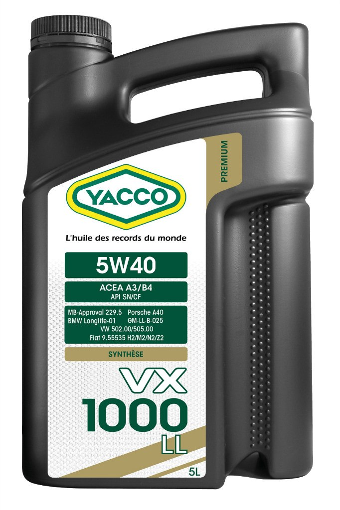 Масло моторное Yacco VX 1000 LL 5W40, 5 л2706 (ПО)VX 1000 LL 5W-40Высокопроизводительное синтетическое масло для применения в бензиновых и дизельных двигателях, в том числе с увеличенным сервисным интервалом обслуживания (LongLife).ПРИМЕНЕНИЕОфициально одобрено производителями в соответствии с нормами API SN, BMW Longlife-01, MB-Approval 229.5, PORSCHE A40, VW 502.00/505.00 и рекомендовано к применению в высокомощных турбированных и атмосферных бензиновых (также многоклапанных) и дизельных? двигателях, работающих в условиях высоких нагрузок. Подходит для автомобилей, оборудованных каталитическим нейтрализатором отработавших газов (катализатором), а также автомобилей, работающих на сжиженном газе.ПРЕИМУЩЕСТВА• Благодаря высококачественной синтетической основе и особому пакету присадок данное масло значительно первосходит по своим характеристикам обычные масла класса вязкости 5W-40 и распологает официальными допусками ведущих европейских автопроизводителей• Повышенная устойчивость к деформации сдвига обеспечивают качественную смазку и оптимальное давление масла в высокотемпературных режимах эксплуатации• Превосходные низкотемпературные характеристики обеспечивают быстрое поступление к узлам трения двигателя, особенно в момент его пуска, и снижают его износ• Превосходные моющие и диспергирующие свойства предотвращают шламообразование• Повышенная защита двигателя даже в условиях больших нагрузокСПЕЦИФИКАЦИИ И ОДОБРЕНИЯVX 1000 LL 5W-40 официально одобрено:API SNBMW Longlife-01MB-Approval 229.5Porsche A40VW 502.00/505.0VX 1000 LL 5W-40 соответствует требованиям спецификаций:ACEA A3/B4API CFFiat 95535 H2/M2/N2/Z2GM-LL-B-025PSA B71 2296Renault RN0710Renault RN0700?Исключение: дизельные двигатели концерна VW-AUDI с насос-форсункой (Pumpe — Demse)
