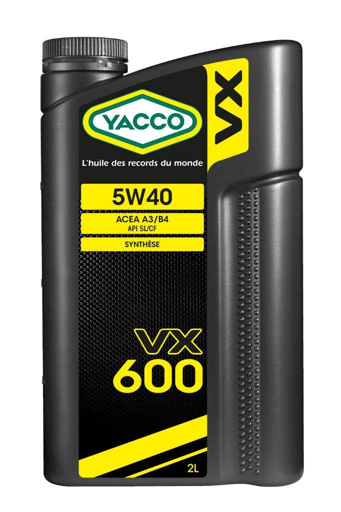 Масло моторное Yacco VX 600 5W40, 2 лS03301004ПРИМЕНЕНИЕ: Высокопроизводительное синтетическое масло для применения в бензиновых и дизельных двигателях Специально разработано и особо рекомендовано к применению в бензиновых (в особенности многоклапанных) и дизельных (в особенности турбированных системы Common Rail) двигателях. Оптимально подходит для автомобилей, требующих дополнительной защиты от износа и использующихся как в частых коротких поездках в городских условиях, так и в дальних поездках на высоких скоростях. Обеспечивает легкий пуск двигателя при сверхнизких температурах и надежную защиту от износа при высоких. Значительно превышает эксплуатационные требования норм ACEA A3/B4 и API SL/CF. ПРЕИМУЩЕСТВА: • Повышенная термическая устойчивость предотвращает образование отложений • Превосходные моющие и диспергирующие свойства • Оптимальное смазывание и защита узлов двигателя во всех температурных режимах • Особый пакет противоизносных и противозадирных присадок снижает трение и износ двигателя СПЕЦИФИКАЦИИ И ОДОБРЕНИЯ: ACEA A3/B4 • API SL/CF YACCO VX 600 5W-40 значительно превышает эксплуатационные требования норм ACEA A3/B4 и API SL/CF.