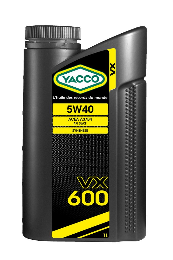 Масло моторное Yacco VX 600 5W40, 1 лS03301004ПРИМЕНЕНИЕ: Высокопроизводительное синтетическое масло для применения в бензиновых и дизельных двигателях Специально разработано и особо рекомендовано к применению в бензиновых (в особенности многоклапанных) и дизельных (в особенности турбированных системы Common Rail) двигателях. Оптимально подходит для автомобилей, требующих дополнительной защиты от износа и использующихся как в частых коротких поездках в городских условиях, так и в дальних поездках на высоких скоростях. Обеспечивает легкий пуск двигателя при сверхнизких температурах и надежную защиту от износа при высоких. Значительно превышает эксплуатационные требования норм ACEA A3/B4 и API SL/CF. ПРЕИМУЩЕСТВА: • Повышенная термическая устойчивость предотвращает образование отложений • Превосходные моющие и диспергирующие свойства • Оптимальное смазывание и защита узлов двигателя во всех температурных режимах • Особый пакет противоизносных и противозадирных присадок снижает трение и износ двигателя СПЕЦИФИКАЦИИ И ОДОБРЕНИЯ: ACEA A3/B4 • API SL/CF YACCO VX 600 5W-40 значительно превышает эксплуатационные требования норм ACEA A3/B4 и API SL/CF.