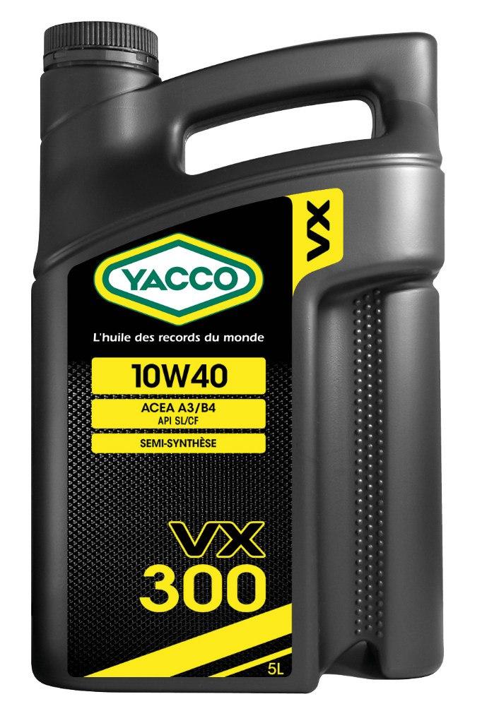 Масло моторное Yacco VX 300 10W40, 5 л194873VX 300 10W-40 Полусинтетическое масло для бензиновых и дизельных двигателей ПРИМЕНЕНИЕ: Качественное полусинтетическое масло для применения в высокомощных бензиновых и дизельных двигателях. Рекомендовано к использованию во всех видах бензиновых и дизельных двигателей, в том числе турбированных, многоклапанных и оборудованных каталитическим нейтрализатором отработавших газов (катализатором). Значительно превышает эксплуатационные требования норм ACEA A3/B4, API SL/CF MB 229.1, VW 501.01 и 505.00 ПРЕИМУЩЕСТВА: • Формула разработана на синтетической основе, что позволяет повысить термостойкость, и обеспечивает превосходную смазку в любых условиях • Специальный пакет присадок, рассчитанный на эксплуатацию в дизельных двигателях с системой непосредственного впрыска топлива: улучшенная защита от образования отложений в высокотемпературных режимах • Класс вязкости SAE 10W-40 с хорошими низкотемпературными показателями для защиты двигателя во время пуска СПЕЦИФИКАЦИИ И ОДОБРЕНИЯ: ACEA A3/B3 • API SL/CF • MB 229.1 • VW 501.01/VW 505.00 YACCO VX 300 10W-40 значительно превышает эксплуатационные требования норм ACEA A3/B3 и/или API SL/CF.