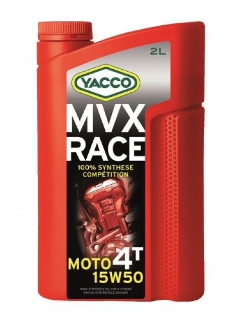 Масло Yacco MVX RACE 4T 15W50, для 4-тактных двигателей спортивных мотоциклов, 2 лS03301004MVX RACE 4T 15W-50 100% синтетическое масло для 4-тактных двигателей спортивных мотоциклов ПРИМЕНЕНИЕ Специальная формула масла, разработанная для мотоциклов, участвующих в спортивных соревнованиях. Адаптировано и рекомендовано для следующих дисциплин: скоростные гонки, гонки на выносливость, мотокроссы, эндуро. Отличная смазка коробок передач и сцеплений в масляной ванне. Смешивается со смазочными материалами аналогичных классов. ПРЕИМУЩЕСТВА • Отличная стабильность масла в высокотемпературных режимах при самых жестких условиях эксплуатации. • Оптимальная и быстрая смазка узлов при запуске двигателя • Отличные моющие и диспергирующие свойства обеспечивают соответствующую чистоту двигателя • Улучшенная защита двигателя от износа • Поддержка оптимальных характеристик двигателя СПЕЦИФИКАЦИИ И ОДОБРЕНИЯ Разработанное для применения в спортивных соревнованиях масло MVX RACE 4T 15W-50 значительно превосходит характеристики, определенные международными стандартами