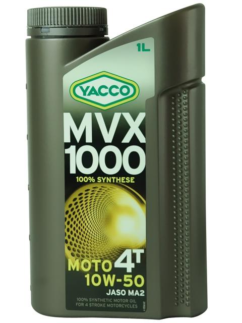 Масло Yacco MVX 1000 4T 10W50, для мотоциклов с 4-тактным двигателем, 1 лS03301004MVX 1000 4T 10W-50 100% синтетическое масло для мотоциклов с 4-тактным двигателем ПРИМЕНЕНИЕ Особенно рекомендуется для мотоциклов класса «Супер спорт», оснащенных новейшими технологическими решениями для всех условий эксплуатации, включая экстремальные условия, в том числе соревнования в любое время года. Применяется также для смазки встроенных коробок передач, обеспечивая усиленную защиту узла «коробка/сцепление» (одобрение JASO MA2). Защищает характеристики двигателя в экстремальных условиях эксплуатации и в дальних поездках на большой скорости. Значительно превосходит требования ведущих производителей мотоциклов. ПРЕИМУЩЕСТВА • Особый состав и вязкость SAE 10W-50 обеспечивают хорошую устойчивость в высокотемпературных режимах и оптимальную и быструю смазку при запуске двигателя • В масле используются присадки, позволяющие поддерживать вязкость на необходимом уровне • Высокая устойчивость к деформации сдвига при эксплуатации • Отличные моющие и диспергирующие свойства • Низкая летучесть способствуюет минимизации расхода масла. • Высокий коэффициент трения соответствует требованиям JASO MA2, позволяющий избежать проскальзывания сцепления СПЕЦИФИКАЦИИ И ОДОБРЕНИЯ MVX 1000 4T 10W-50 официально одобрено: JASO MA MVX 1000 4T 10W-50 соответствует требованиям спецификаций: API SL