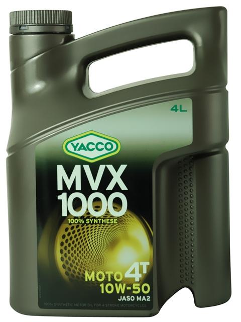 Масло Yacco MVX 1000 4T 10W50, для мотоциклов с 4-тактным двигателем, 4 л194832MVX 1000 4T 10W-50 100% синтетическое масло для мотоциклов с 4-тактным двигателем ПРИМЕНЕНИЕ Особенно рекомендуется для мотоциклов класса «Супер спорт», оснащенных новейшими технологическими решениями для всех условий эксплуатации, включая экстремальные условия, в том числе соревнования в любое время года. Применяется также для смазки встроенных коробок передач, обеспечивая усиленную защиту узла «коробка/сцепление» (одобрение JASO MA2). Защищает характеристики двигателя в экстремальных условиях эксплуатации и в дальних поездках на большой скорости. Значительно превосходит требования ведущих производителей мотоциклов. ПРЕИМУЩЕСТВА • Особый состав и вязкость SAE 10W-50 обеспечивают хорошую устойчивость в высокотемпературных режимах и оптимальную и быструю смазку при запуске двигателя • В масле используются присадки, позволяющие поддерживать вязкость на необходимом уровне • Высокая устойчивость к деформации сдвига при эксплуатации • Отличные моющие и диспергирующие свойства • Низкая летучесть способствуюет минимизации расхода масла. • Высокий коэффициент трения соответствует требованиям JASO MA2, позволяющий избежать проскальзывания сцепления СПЕЦИФИКАЦИИ И ОДОБРЕНИЯ MVX 1000 4T 10W-50 официально одобрено: JASO MA MVX 1000 4T 10W-50 соответствует требованиям спецификаций: API SL