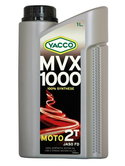 Масло моторное Yacco MVX 1000 2T, 1 лS03301004MVX 1000 2T100% синтетическое масло для 2-тактных двигателейПРИМЕНЕНИЕ100% синтетический высокотехнологичный смазочный материал для мотоциклов с высокомощными 2-тактными двигателями для соревнований по дорогам или бездорожью.Также рекомендуется для 2-тактных двигателей с каталитическим нейтрализатором или с непосредственным впрыском топлива. Используется на мотоциклах, квадроциклах, картах.Применяется для отдельной смазки или для использования в смесях.Концентрация при смешивании: в зависимости от рекомендаций производителя (как правило, от 1% до 3%. До 6% для применения на картах 100 см3).ПРЕИМУЩЕСТВА• Синтетические эфирные основы масла обеспечивают отличную стойкость в высокотемпературных режимах для предотвращения рисков заклинивания• Отличные противодымные свойства• Предварительно разбавленный смазочный материал обеспечивает быструю и очень стабильную смешиваемость в топливе• Низкая зольность предотвращает образование отложений в камере сгорания• Снижает образование отложений в системе выпускаСПЕЦИФИКАЦИИ И ОДОБРЕНИЯMVX 1000 2T официально одобрено: JASO FDMVX 1000 2T соответствует требованиям спецификаций: API TC; ISO-L-EGD