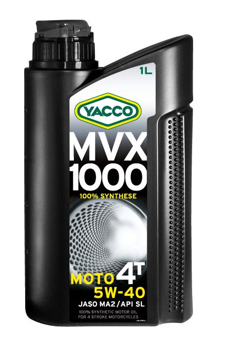 Масло моторное Yacco MVX 1000 4T 5W40, 1 л194832MVX 1000 4T 5W-40100% синтетическое масло для мотоциклов с 4-тактным двигателемПРИМЕНЕНИЕ100% синтетическое масло для мотоциклов с 4-тактовыии двигателем, разработанное и изготовленное по последним современным технологиям.Защищает характеристики двигателя в экстремальных условиях эксплуатации и в дальних поездках на большой скорости; оно значительно превосходит требования ведущих производителей мотоциклов.Это масло рекомендуется, когда производитель требует применения моторного масла вязкостью 5W-40 (например, BMW, Piaggio).ПРЕИМУЩЕСТВА• Коэффициенты трения соответствуют требованиям JASO MA2 и позволяют избежать проскальзывания сцепления и обеспечивают усиленную защиту узла «коробка/сцепление».• 100% синтетический состав масла для оптимальной защиты в высокотемпературных режимах• Класс вязкости SAE 5W-40 обеспечивает быструю смазку при запуске двигателя и сохранение качеств масла в высокотемпературных режимах• Эффективные присадки улучшают индекс вязкости, очень устойчивы к деформации сдвига и позволяют поддерживать вязкость в ходе эксплуатации для оптимальной защиты двигателя и коробки передач• Отличные моющие и диспергирующие свойства, обеспечивающие чистоту узлов двигателяСПЕЦИФИКАЦИИ И ОДОБРЕНИЯMVX 1000 4T 5W-40 официально одобрено: JASO MAMVX 1000 4T 5W-40 соответствует требованиям спецификаций: API SL