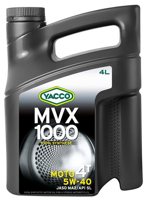 Масло Yacco MVX 1000 4T 5W40, для мотоциклов с 4-тактным двигателем, 4 л550040315MVX 1000 4T 5W-40100% синтетическое масло для мотоциклов с 4-тактным двигателемПРИМЕНЕНИЕ100% синтетическое масло для мотоциклов с 4-тактовыии двигателем, разработанное и изготовленное по последним современным технологиям.Защищает характеристики двигателя в экстремальных условиях эксплуатации и в дальних поездках на большой скорости; оно значительно превосходит требования ведущих производителей мотоциклов.Это масло рекомендуется, когда производитель требует применения моторного масла вязкостью 5W-40 (например, BMW, Piaggio).ПРЕИМУЩЕСТВА• Коэффициенты трения соответствуют требованиям JASO MA2 и позволяют избежать проскальзывания сцепления и обеспечивают усиленную защиту узла «коробка/сцепление».• 100% синтетический состав масла для оптимальной защиты в высокотемпературных режимах• Класс вязкости SAE 5W-40 обеспечивает быструю смазку при запуске двигателя и сохранение качеств масла в высокотемпературных режимах• Эффективные присадки улучшают индекс вязкости, очень устойчивы к деформации сдвига и позволяют поддерживать вязкость в ходе эксплуатации для оптимальной защиты двигателя и коробки передач• Отличные моющие и диспергирующие свойства, обеспечивающие чистоту узлов двигателяСПЕЦИФИКАЦИИ И ОДОБРЕНИЯMVX 1000 4T 5W-40 официально одобрено: JASO MAMVX 1000 4T 5W-40 соответствует требованиям спецификаций: API SL