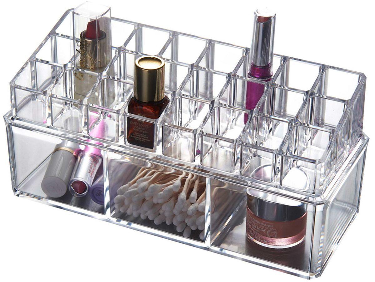 Органайзер для косметики HomeMaster, 24 х 10 х 11 см74-0060Стильный и практичный органайзер для ювелирных украшений. Шкатулка имеет несколько отделений для цепочек и браслетов, а так же хранения косметики.