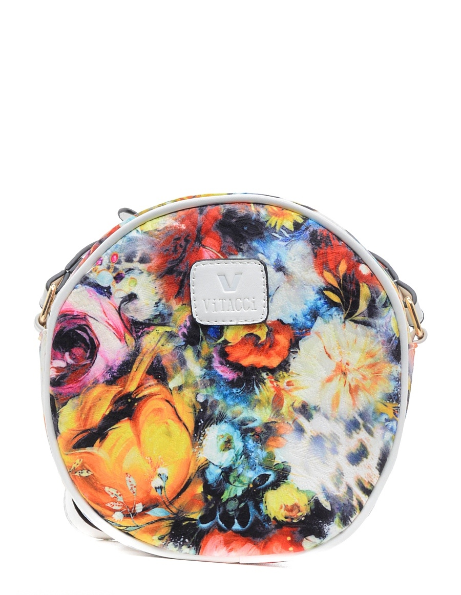 Сумка детская Vitacci, цвет: белый, мультиколор. 13772-1101225Детская стильная сумочка Vitacci выполнена из качественного текстиля. Сумка имеет одно вместительное отделение и застегивается на застежку-молнию. Спереди сумка дополнена декоративной нашивкой с названием бренда. Модель выполнена в форме круга и оформлена контрастным принтом.Сумка оснащена несъемным наплечным ремнем, который регулируется по длине.