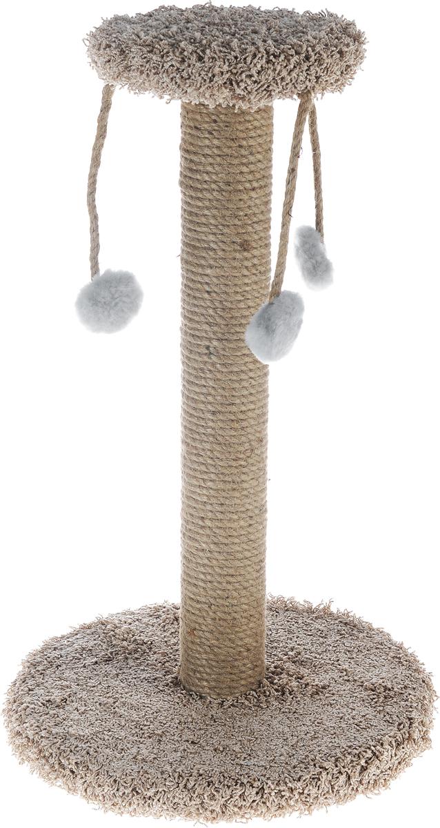 Когтеточка Неженка  Карусель , цвет: бежевый, 32 х 32 х 58 см