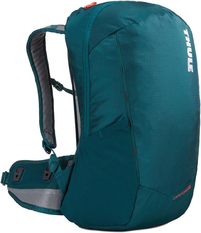 Рюкзак туристический женский Thule Capstone, цвет: темно-бирюзовый, 22 л. Размер S/M67742Женский рюкзак Thule Capstone идеально подходит для однодневных путешествий или коротких походов. Рюкзак снабжен яркой накидкой от дождя и системой крепления MicroAdjust, которая обеспечивает максимальную регулировку для идеальной посадки. Сзади расположена натягиваемая сеточная панель для максимальной воздухопроницаемости. Рюкзак оснащен 1 вместительным отделением на застежке-молнии. Спереди имеется 2 кармана, один из которых на застежке-молнии. По бокам расположено 2 эластичных кармана. На набедренном ремне имеется 2 небольших кармана.