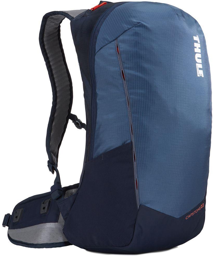 Рюкзак туристический мужской Thule Capstone, цвет: синий, темно-синий, 22 л. Размер S/M225108Мужской рюкзак Thule Capstone идеально подходит для однодневных путешествий или коротких походов. Рюкзак снабжен яркой накидкой от дождя и системой крепления MicroAdjust, которая обеспечивает максимальную регулировку для идеальной посадки. Сзади расположена натягиваемая сеточная панель для максимальной воздухопроницаемости. Рюкзак оснащен 1 вместительным отделением на застежке-молнии. Спереди имеется 2 кармана, один из которых на застежке-молнии. По бокам расположено 2 эластичных кармана. На набедренном ремне имеется 2 небольших кармана.