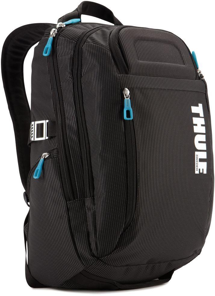 Рюкзак городской Thule Crossover, цвет: черный, 21 лMHDR2G/AРюкзак Thule Crossover c объемом 21 л - идеальный легкий рюкзак для путешествий и ежедневных прогулок по городу вместит все необходимое.В основном отделении находится приподнятый мягкий чехол для 15 MacBook Pro® с надежным фиксирующим ремнем для ноутбука и чехол для iPad.Замок-молния на задней панели позволяет получить быстрый доступ к iPad, не открывая основное отделение.Изготовленные по технологии горячей прессовки ударопрочные отделения SafeZone защитят ваш iPhone и солнцезащитные очки.Выемки для вентиляции на задней стороне обеспечивают циркуляцию воздуха.Воздухопроницаемые ремни рюкзака с регулируемым нагрудным ремнем обеспечивают максимальный комфорт.В дополнительном отделе-органайзере можно сложить легкие закуски, журналы и электронные устройства.Мелкие предметы удобно хранить в потайном кармане на передней панели.Боковые карманы на застежке-молнии подойдут для хранения под рукой бутылки с водой или небольших вещей.Несколько удобных ручек для переноски.Облегченный, но прочный материал также является водостойким.