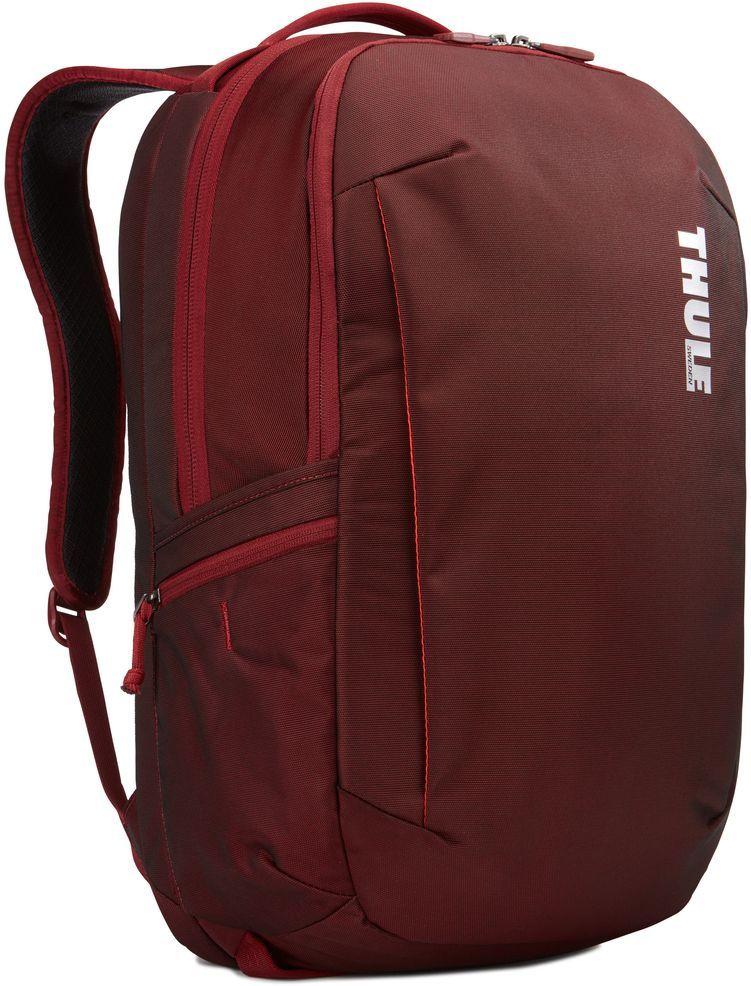 Рюкзак городской Thule Subterra Backpack, цвет: темно-бордовый, 30 л3203419Вместительный и прочный дорожный рюкзак с функцией защиты электроники и отделением PowerPocket для упорядоченного хранения шнуров и зарядных устройств.Отделение с мягкой подкладкой и конструкцией SafeEdge для ноутбука (MacBook Pro с диагональю экрана 15 дюймов или ПК с диагональю экрана 15,6 дюйма).Специальный защитный карман с мягкой подкладкой для планшета.От внешнего аккумулятора во внутреннем отделении PowerPocket удобно заряжать различные устройства.Доступ к ноутбуку из верхнего отделения или через боковую молнию.Перфорированные наплечные ремни EVA с сетчатым покрытием и мягкой задней подушкой, пропускающие воздух, обеспечивают комфорт.Съемный регулируемый нагрудный ремень фиксирует наплечные ремни рюкзака и делает транспортировку более комфортной.Специальная панель для надежного крепления к дорожным сумкам на колесах помогает путешествовать с удобством.Внутренний карман с мягкой подкладкой для ценных вещей, например очков или телефона.Удобные отделения-органайзеры упрощают размещение мелких предметов.В растягивающемся боковом кармане на молнии безопасно хранятся небольшие предметы и помещается бутылка воды.