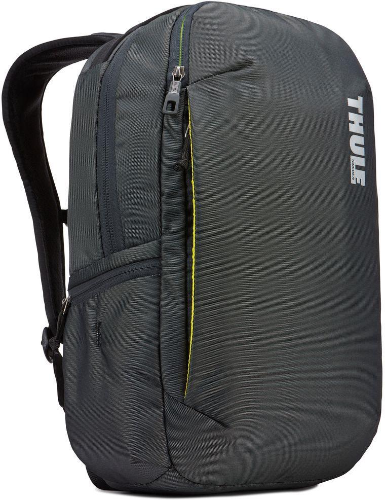 Рюкзак городской Thule Subterra Backpack, цвет: темно-серый, 23 лZ90 blackВместительный и прочный дорожный рюкзак с функцией защиты электроники и отделением PowerPocket для упорядоченного хранения шнуров и зарядных устройств.Отделение с мягкой подкладкой и конструкцией SafeEdge для ноутбука (MacBook Pro с диагональю экрана 15 дюймов или ПК с диагональю экрана 15,6 дюйма).Специальный защитный карман с мягкой подкладкой для планшета.От внешнего аккумулятора во внутреннем отделении PowerPocket удобно заряжать различные устройства.Доступ к ноутбуку из верхнего отделения или через боковую молнию.Перфорированные наплечные ремни EVA с сетчатым покрытием и мягкой задней подушкой, пропускающие воздух, обеспечивают комфорт.Съемный регулируемый нагрудный ремень фиксирует наплечные ремни рюкзака и делает транспортировку более комфортной.Специальная панель для надежного крепления к дорожным сумкам на колесах помогает путешествовать с удобством.Внутренний карман с мягкой подкладкой для ценных вещей, например очков или телефона.Удобные отделения-органайзеры упрощают размещение мелких предметов.В растягивающемся боковом кармане на молнии безопасно хранятся небольшие предметы и помещается бутылка воды.