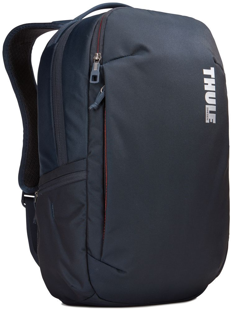 Рюкзак городской Thule Subterra Backpack, цвет: темно-синий, 23 л95940-905Вместительный и прочный дорожный рюкзак с функцией защиты электроники и отделением PowerPocket для упорядоченного хранения шнуров и зарядных устройств.Отделение с мягкой подкладкой и конструкцией SafeEdge для ноутбука (MacBook Pro с диагональю экрана 15 дюймов или ПК с диагональю экрана 15,6 дюйма).Специальный защитный карман с мягкой подкладкой для планшета.От внешнего аккумулятора во внутреннем отделении PowerPocket удобно заряжать различные устройства.Доступ к ноутбуку из верхнего отделения или через боковую молнию.Перфорированные наплечные ремни EVA с сетчатым покрытием и мягкой задней подушкой, пропускающие воздух, обеспечивают комфорт.Съемный регулируемый нагрудный ремень фиксирует наплечные ремни рюкзака и делает транспортировку более комфортной.Специальная панель для надежного крепления к дорожным сумкам на колесах помогает путешествовать с удобством.Внутренний карман с мягкой подкладкой для ценных вещей, например очков или телефона.Удобные отделения-органайзеры упрощают размещение мелких предметов.В растягивающемся боковом кармане на молнии безопасно хранятся небольшие предметы и помещается бутылка воды.