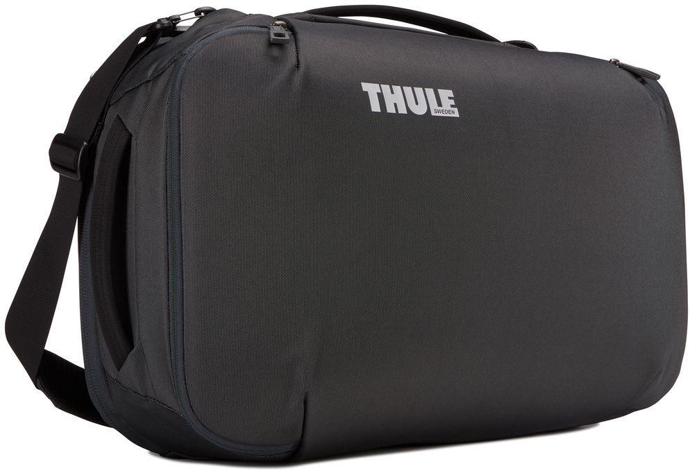 Сумка дорожная Thule Subterra Carry-On, цвет: темно-серый, 40 л3203443Универсальная мягкая дорожная сумка Thule Subterra Carry-On отличается исключительной вместимостью. Имеет встроенный чехол для ноутбука, который очень пригодится в поездке. Возможны два способа переноски: в виде рюкзака и наплечной сумки (неиспользуемые ремни можно убрать) . Для ноутбуков и планшетов предусмотрен съемный футляр с отсеком, куда можно вложить устройство; имеется отделение PowerPocket и органайзер для аксессуаров.От внешнего аккумулятора во внутреннем отделении PowerPocket удобно заряжать различные устройства.Сетчатая перегородка с молнией в главном отделении позволяет раздельно хранить вещи.Универсальное отделение предназначено для отдельного хранения обуви или грязной одежды . Верхние, нижние и боковые ручки дают возможность удобно поднимать и размещать багаж на багажных полках.Соответствует требованиям к ручной клади в большинстве авиакомпаний.Специальная панель для надежного крепления к дорожным сумкам на колесах — путешествуйте с комфортом.В потайном кармане, расположенном за специальной панелью, можно безопасно хранить важные документы и при необходимости быстро доставать их. Сетчатый карман с молнией для быстрого доступа к ключам, кошельку и другим мелким предметам. Размеры: 21 x 35 x 55 см