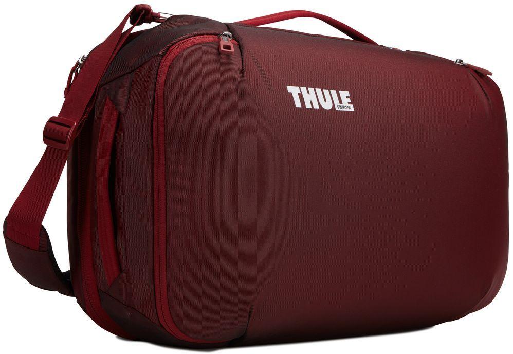 Сумка дорожная Thule Subterra Carry-On, цвет: темно-бордовый, 40 л95936-911Универсальная мягкая сумка отличается исключительной вместимостью. Имеет встроенный чехол для ноутбука, который очень пригодится в поездке. Также здесь присутствует отделение PowerPocket, в котором может располагаться внешний аккумулятор для подзарядки гаджетов.Имеет три варианта переноски: через плечо, за ручку и как рюкзак.Подходит под требования многих авиакомпаний, предъявляемых к ручной клади.Размер сумки: 21 x 35 x 55 см.