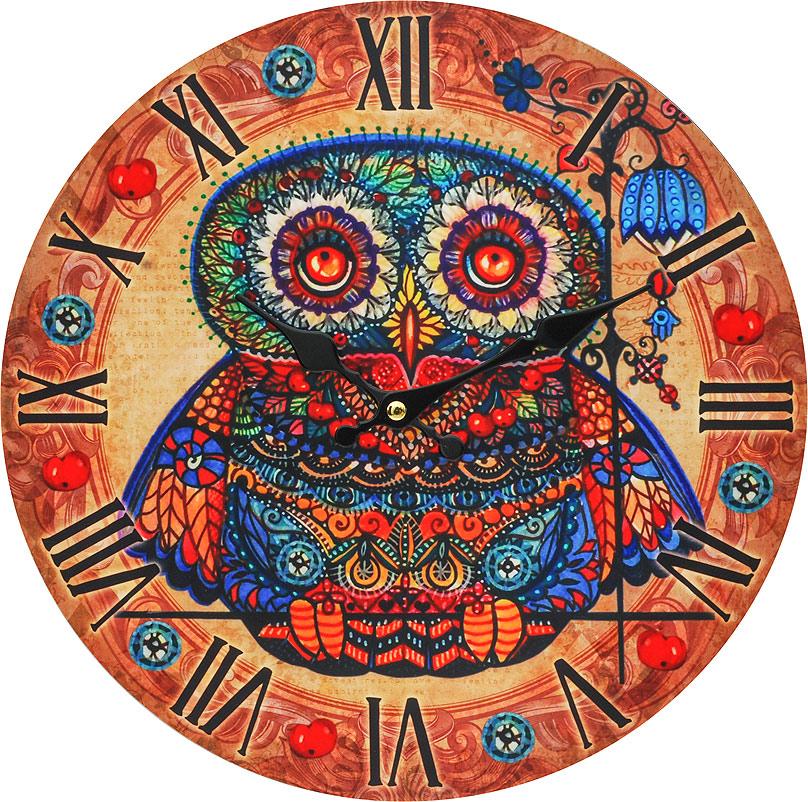 Часы настенные Белоснежка Волшебная сова с рябиной, диаметр 34 см002-CLНастенные часы Белоснежка Волшебная сова с рябиной своим необычным дизайном подчеркнут стильностьи оригинальность интерьера вашего дома. Такие часы послужат отличным подарком для ценителя ярких и необычныхвещей. Циферблат: открытый, выполнен из листа оргалита с декоративным покрытием.Стрелки металлические - часовая и минутная. Часовой механизм закрыт пластиковым корпусом. Питание от одного элемента питания стандарта АА.Отверстие для крепления часов на стену. Диаметр 34 см.