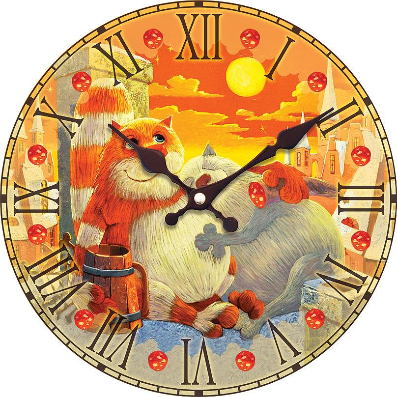 Часы настенные Белоснежка Поздний ужин, диаметр 34 смML-1481 White Часы настенные КлеткаЧасы настенные Белоснежка станут изюминкой в дизайне интерьера вашего дома. Открытый циферблат выполнен из листа оргалита с декоративным покрытием. Часы имеют две стрелки – часовую и минутную. Часовой механизм сзади закрыт пластиковым корпусом. Предусмотрено отверстие для крепления на стену. Питание от одной батарейки стандарта АА (в комплект не входит).Диаметр часов: 34 см.