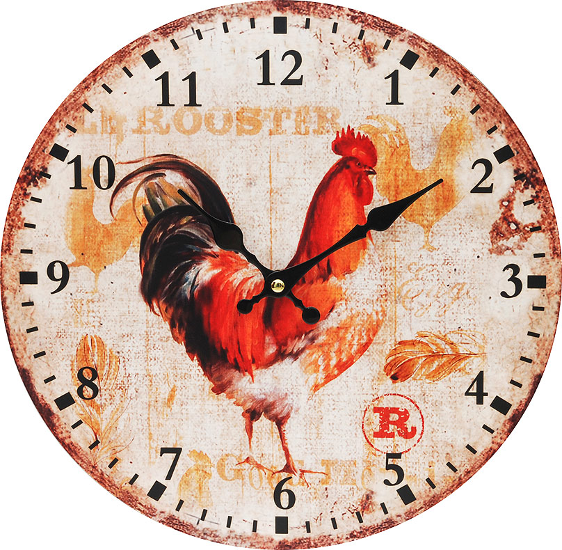 Часы настенные Белоснежка Петушок, диаметр 34 см54 009303Циферблат: открытый, выполнен из листа оргалита с декоративным покрытием.Стрелки металлические – часовая и минутная.Часовой механизм закрыт пластиковым корпусом.Питание от одного элемента питания стандарта АА.Отверстие для крепления часов на стену.Диаметр 34 см.