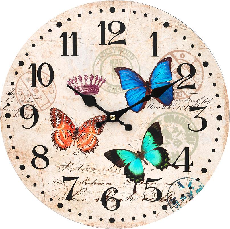 Часы настенные Белоснежка Разноцветные бабочки, диаметр 34 см54 009318Циферблат: открытый, выполнен из листа оргалита с декоративным покрытием.Стрелки металлические – часовая и минутная.Часовой механизм закрыт пластиковым корпусом.Питание от одного элемента питания стандарта АА.Отверстие для крепления часов на стену.Диаметр 34 см.