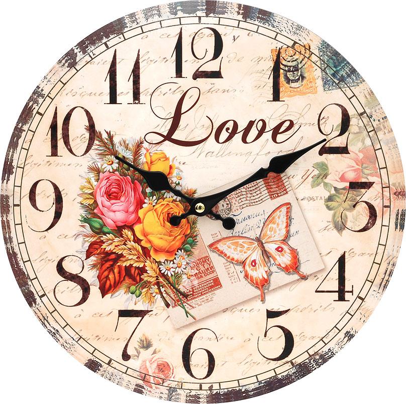 Часы настенные Белоснежка Любовь, диаметр 34 смML-5111 Antique grey Часы настольные серыеЧасы настенные Белоснежка станут изюминкой в дизайне интерьера вашего дома. Открытый циферблат выполнен из листа оргалита с декоративным покрытием. Часы имеют две стрелки – часовую и минутную. Часовой механизм сзади закрыт пластиковым корпусом. Предусмотрено отверстие для крепления на стену. Питание от одной батарейки стандарта АА (в комплект не входит).Диаметр часов: 34 см.