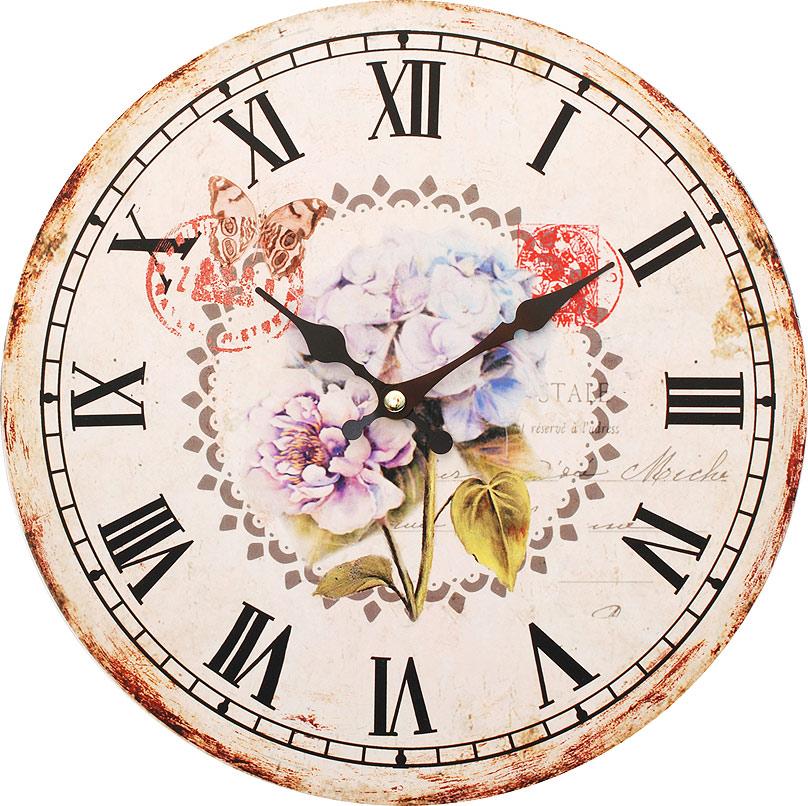 Часы настенные Белоснежка Садовые цветы, диаметр 34 см123-CLЧасы настенные Белоснежка станут изюминкой в дизайне интерьера вашего дома. Открытый циферблат выполнен из листа оргалита с декоративным покрытием. Часы имеют две стрелки – часовую и минутную. Часовой механизм сзади закрыт пластиковым корпусом. Предусмотрено отверстие для крепления на стену. Питание от одной батарейки стандарта АА (в комплект не входит).Диаметр часов: 34 см.