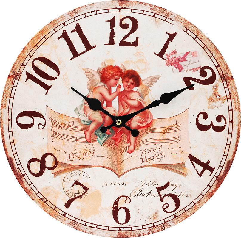 Часы настенные Белоснежка Музыка ангелов, диаметр 34 смRG-D31SЦиферблат: открытый, выполнен из листа оргалита с декоративным покрытием.Стрелки металлические – часовая и минутная.Часовой механизм закрыт пластиковым корпусом.Питание от одного элемента питания стандарта АА.Отверстие для крепления часов на стену.Диаметр 34 см.