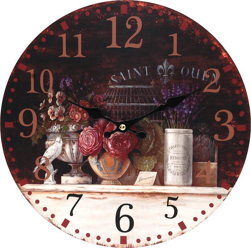 Часы настенные Белоснежка Вечерний Прованс, диаметр 34 смML-5388 White Часы настольные Велосипед белыйЧасы настенные Белоснежка станут изюминкой в дизайне интерьера вашего дома. Открытый циферблат выполнен из листа оргалита с декоративным покрытием. Часы имеют две стрелки – часовую и минутную. Часовой механизм сзади закрыт пластиковым корпусом. Предусмотрено отверстие для крепления на стену. Питание от одной батарейки стандарта АА (в комплект не входит).Диаметр часов: 34 см.