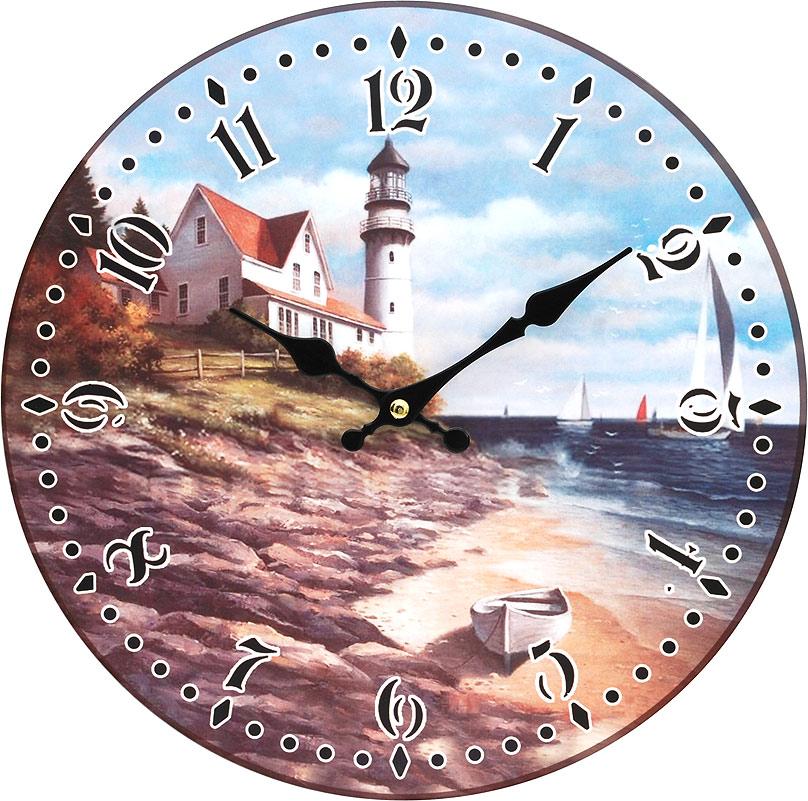 Часы настенные Белоснежка На берегу моря, диаметр 34 см2706 (ПО)Часы настенные Белоснежка станут изюминкой в дизайне интерьера вашего дома. Открытый циферблат выполнен из листа оргалита с декоративным покрытием. Часы имеют две стрелки – часовую и минутную. Часовой механизм сзади закрыт пластиковым корпусом. Предусмотрено отверстие для крепления на стену. Питание от одной батарейки стандарта АА (в комплект не входит).Диаметр часов: 34 см.