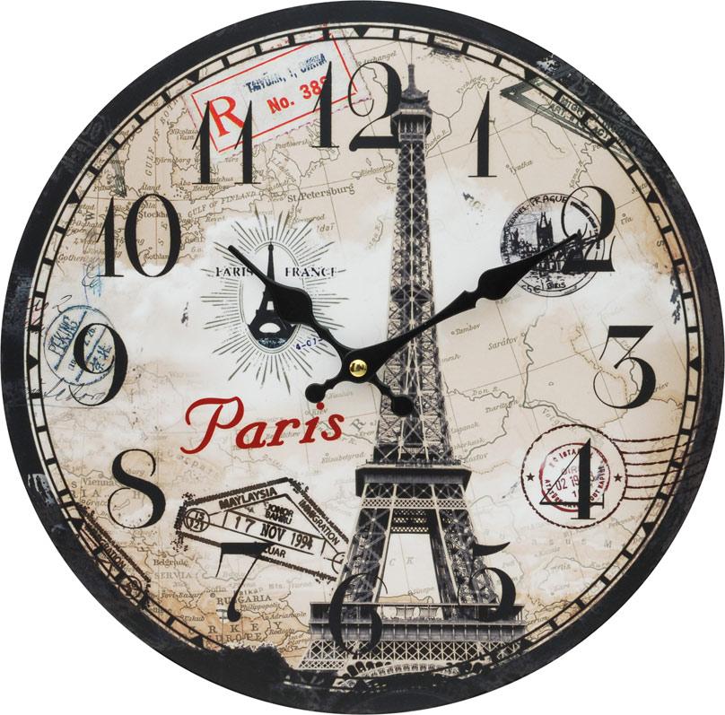 Часы настенные Белоснежка Эйфелева башня, диаметр 34 см54 009303Циферблат: открытый, выполнен из листа оргалита с декоративным покрытием.Стрелки металлические – часовая и минутная.Часовой механизм закрыт пластиковым корпусом.Питание от одного элемента питания стандарта АА.Отверстие для крепления часов на стену.Диаметр 34 см.