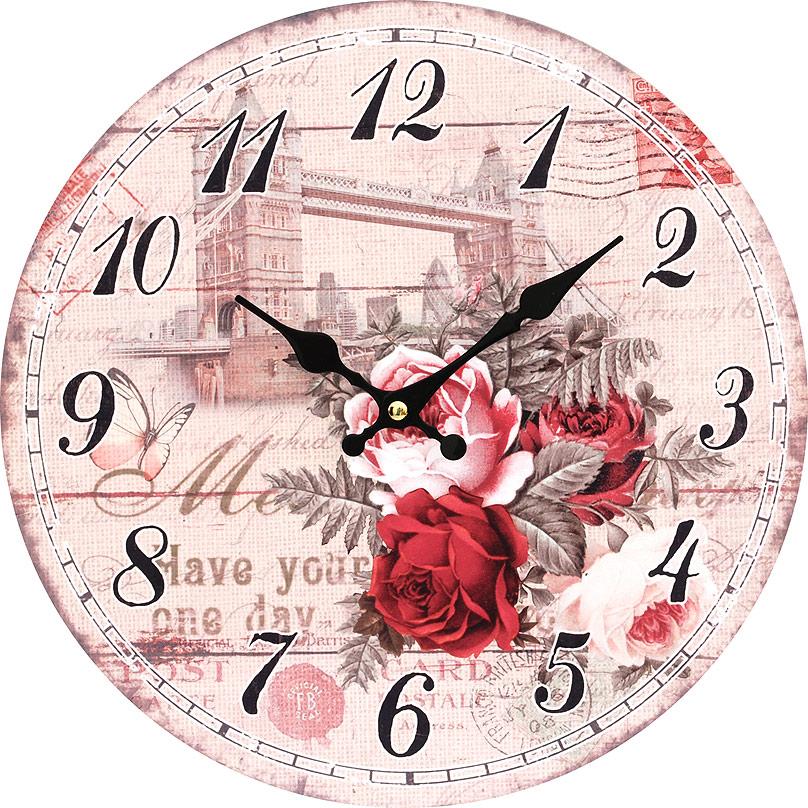 Часы настенные Белоснежка Тауэрский мост, диаметр 34 см54 009312Часы настенные Белоснежка станут изюминкой в дизайне интерьера вашего дома. Открытый циферблат выполнен из листа оргалита с декоративным покрытием. Часы имеют две стрелки – часовую и минутную. Часовой механизм сзади закрыт пластиковым корпусом. Предусмотрено отверстие для крепления на стену. Питание от одной батарейки стандарта АА (в комплект не входит).Диаметр часов: 34 см.