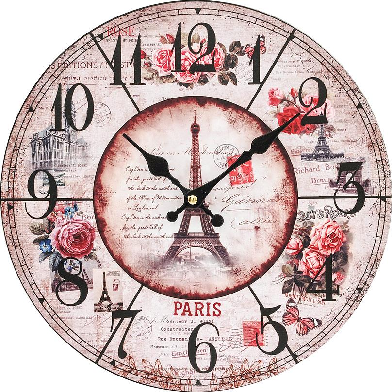 Часы настенные Белоснежка Парижские розы, диаметр 34 см54 009305Циферблат: открытый, выполнен из листа оргалита с декоративным покрытием.Стрелки металлические – часовая и минутная.Часовой механизм закрыт пластиковым корпусом.Питание от одного элемента питания стандарта АА.Отверстие для крепления часов на стену.Диаметр 34 см.