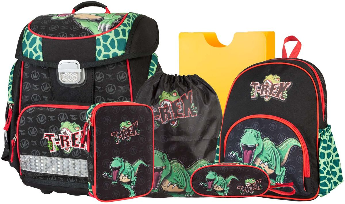 Target Collection Ранец школьный Динозавр Тирекс 6 в 119666Ранец изготовлен из современных, прочных материалов. Техническими особенностями ранца является система Flexiball - поясничная поддержка, правильно распределяет вес ранца, автоматически подстраивается под ребенка, и поэтому обеспечивает идеальное положение в области поясницы ребёнка. Плечевые лямки можно регулировать для каждого ребенка индивидуально,содержат вентиляционные отверстия, оснащеныЭКО-пеной. Светоотражающий материал присутствует на передней, боковой и задней частях рюкзака, что позволяет сделать вашего ребенка более заметным, а так же обезопасить его не только днем, но и ночью. Молнии рюкзака прочные, металлические. В комплект данного набора входит сам ранец,малый рюкзак, сумка для сменной обуви, пенал овальный, пенал с канцтоварами ( В наполнение пенала входит точилка, ластик, три шариковые ручки синего, черного и красного цвета, два графитовых простых карандаша, 12 цветных карандашей бренда FILA Италия, 12 фломастеров бренда FILA Италия, клей, ножрницы), папка-держатель из ЭКО-пластика формата А4.При создании данной моделииспользуются улучшенные материалы (3D), которые имеют свойство «дышать». Благодаря этим материалам воздух циркулирует, и следовательно, спинаребёнка не будет потеть. Дополнительно,имеется грудное крепление-стяжка для фиксации на плечах и поясничное крепление для фиксации на поясе ребенка, они установлены так, чтобы порфель самыми оптимальным образом сидел на на теле ребенка. Правильно используя ремни, вес портфеля распределяется следующим образом: 50% на бедра и 50% на поясничную часть, что ощутимо позволяет уменьшить нагрузку и усилия при ходьбе. Мягкая ручка в верхней части позволяет сделать ношение в руке более удобным и комфортным. Дно портфеля изготовлено из качественного и прочного материала. Внутривложенные угловые элементы,чтобы не было прямого контакта с грунтом и таким образом, образуется защита от грязи.Порфель предназначен для детей ростом от 110 см: