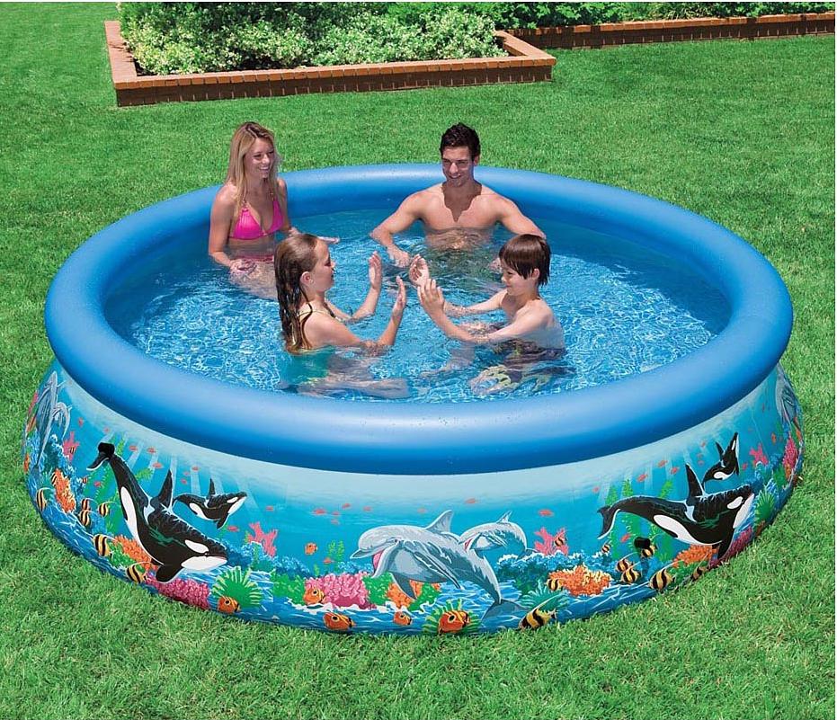 Надувной бассейн Intex Easy Set. Риф Океана, 305 х 76 см. с2812409840-20.000.00Надувной бассейн линейки Easy Set. Риф океана от Intex (Интекс) - отличный вариант для купания родителей вместе с детьми. Красивый и функциональный, а благодаря технологии SUPER-TOUGH надежный. Стенки бассейна имеют три отдельных слоя: два слоя сделаны из плотного винила, третий слой - из особо прочного полиэстера. Внешне бассейн украшен яркими изображениями морских обитателей. Для удобства слива воды имеется клапан, который при необходимости можно присоединить к садовому шлангу. Устанавливается на ровной поверхности, при сборке не требует особых технических средств.
